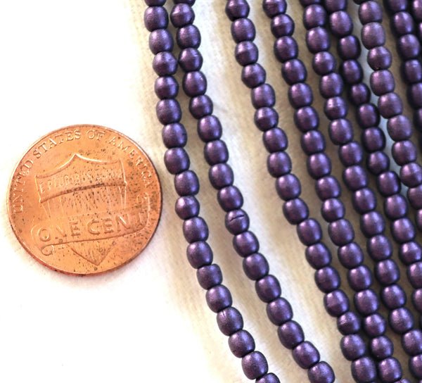 Lot of 100 3mm metallic suede purple Czech glass druks, smooth round druk beads C5601