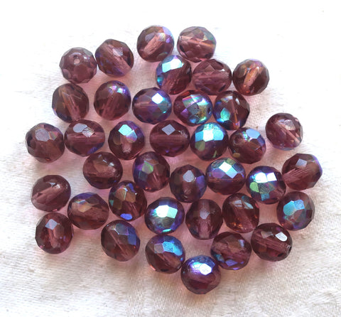 Lot of 25 8mm Medium Amethyst, Purple AB Czech glass beads, firepolished faceted round glass beads C1650