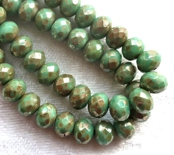 Lot of 25 Czech glass puffy rondelles - Opaque Light Turquoise Green Bronze Picasso faceted rondelle or donut beads - 5 x 7mm C00201 - Glorious Glass Beads