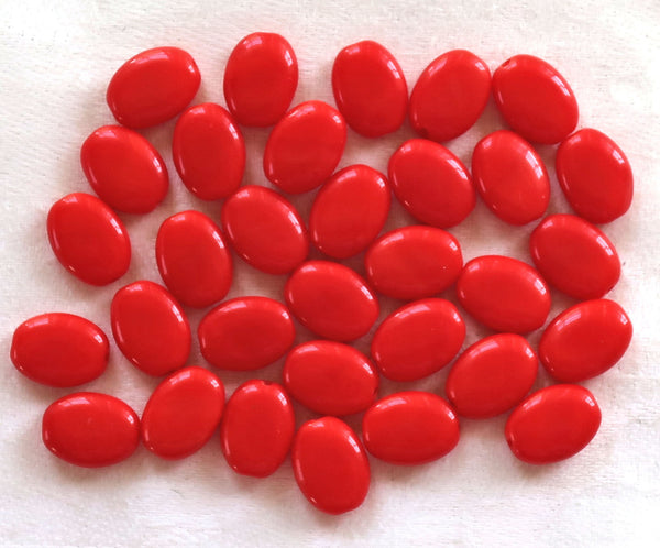 25 opaque bright red flat oval Czech Glass beads, 12mm x 9mm pressed glass beads C8625 - Glorious Glass Beads