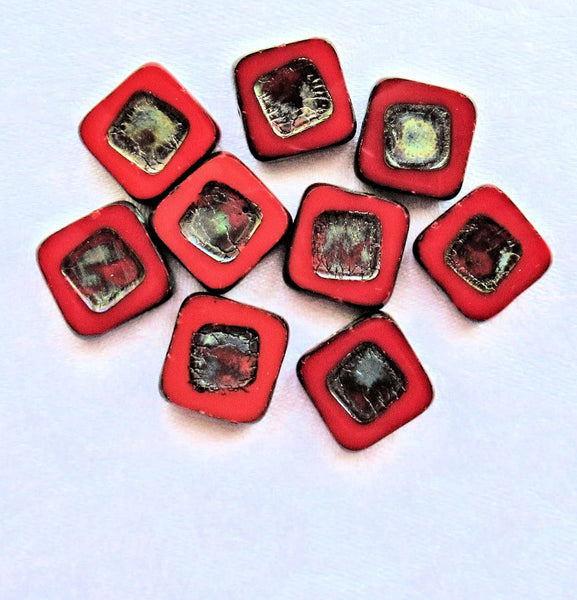 Four large opaque red picasso Czech glass square beads - 14 x 14mm table cut, carved, chunky, rustic, earthy beads C00101 - Glorious Glass Beads
