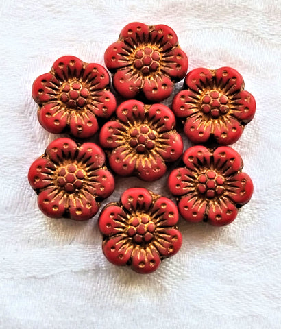 Twelve Czech glass wild rose flower beads - 14mm opaque matte red floral beads with a bronze wash C07105 - Glorious Glass Beads