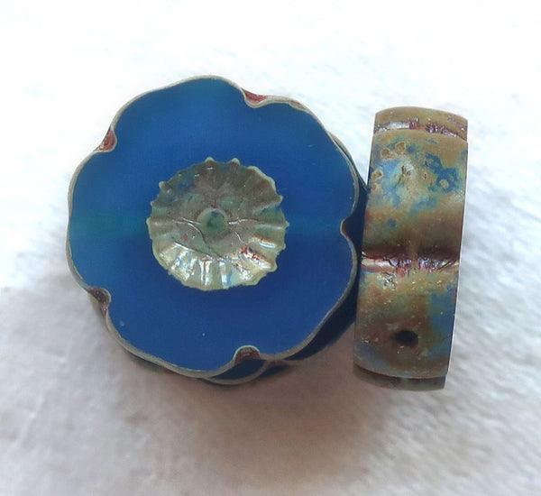 Six 14mm Czech glass flower beads. table cut, carved, translucent capri blue with a picasso finish, Hawaiian flowers C02101