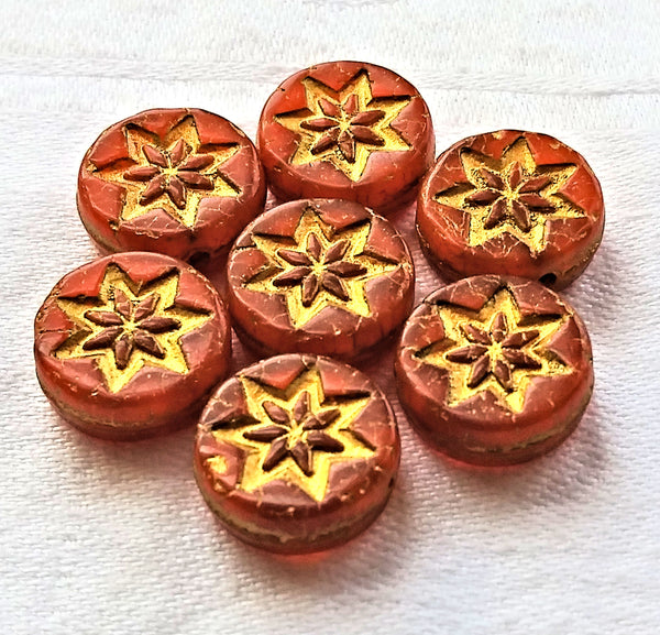 Fifteen 13mm opaque orange coin or disc beads with a gold wash - rustic, earthy star or flower Czech glass beads - 4.5mm thick C08201 - Glorious Glass Beads