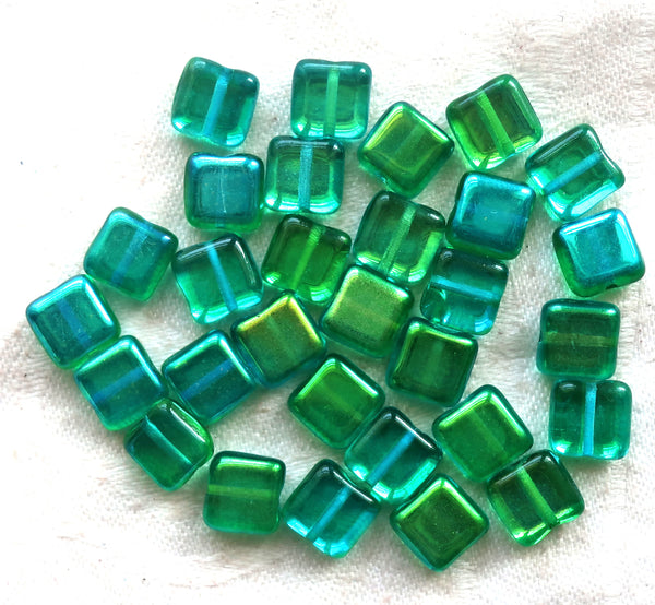 Lot of 30 8mm one hole flat square Czech glass beads, teal blue and green mix with an iridescentt AB finish C10101