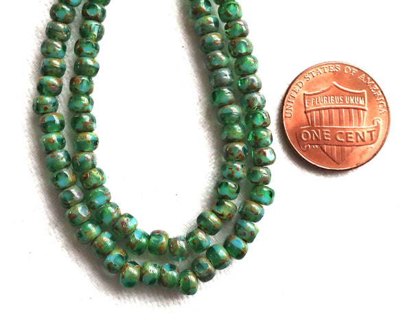 50 4 x 3mm, Tricut, Tri-cut, 3 cut Round Czech glass beads, turquoise green picasso 6/0 seed beads C45101 - Glorious Glass Beads