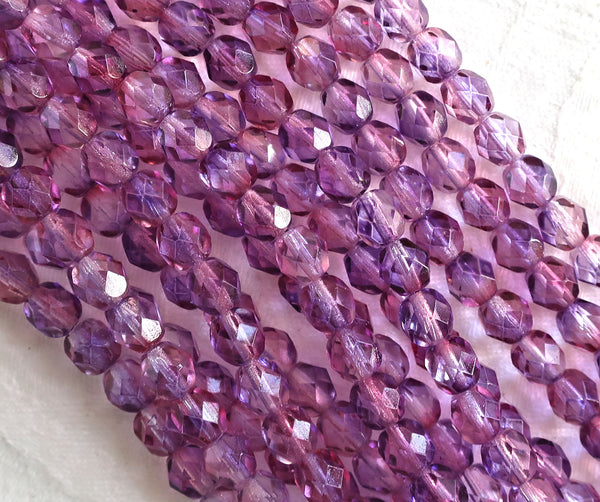 Lot of 25 6mm Czech glass beads, Amethyst Fuchsia dual coated pink & purple faceted, round, firepolished beads 6425 - Glorious Glass Beads