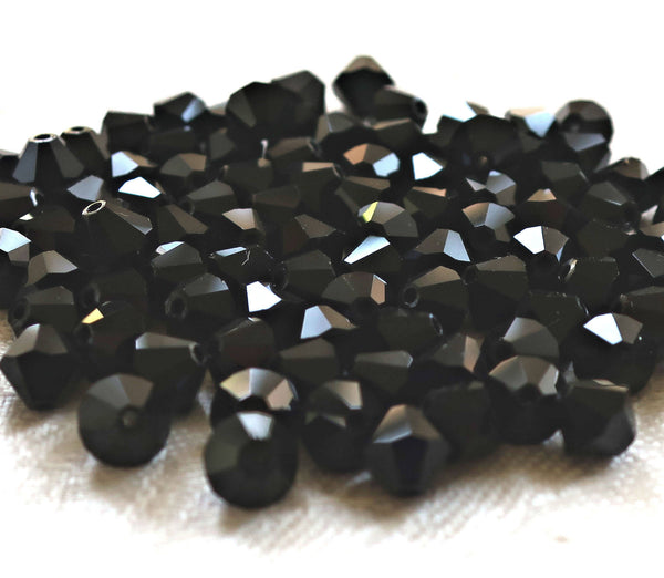 Lot of 24 6mm Czech opaque Jet Black glass faceted bicone beads, Preciosa Crystal black bicones 4801