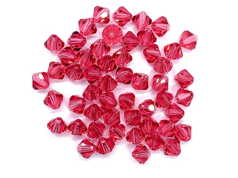 Lot of 24 6mm Indian pink Czech Preciosa Crystal bicone beads - faceted glass bicones C0079