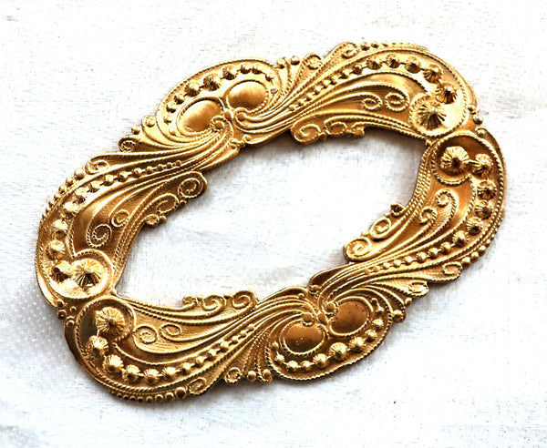 1 large oval frame, Ornate Victorian raw brass stamping, pendant, connector, ornament, component 65mm x 47mm, made in the USA C87101 - Glorious Glass Beads