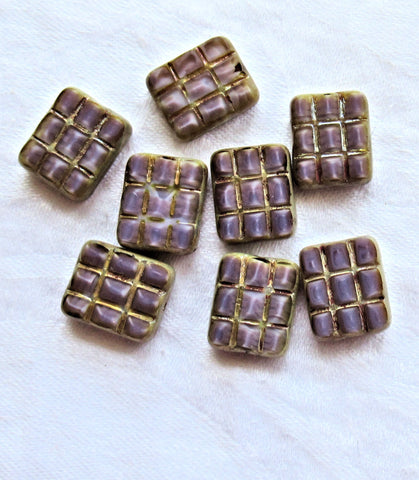 Five large rectangular, square, Czech glass beads - table cut silky purple carved rectangle beads w/ silver picasso accents - 15 x 13mm C163101