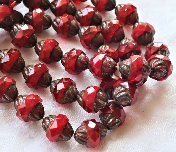 Five Czech glass faceted turbine beads, 11 x 10mm, translucent bright red with a picasso finish C60101 - Glorious Glass Beads