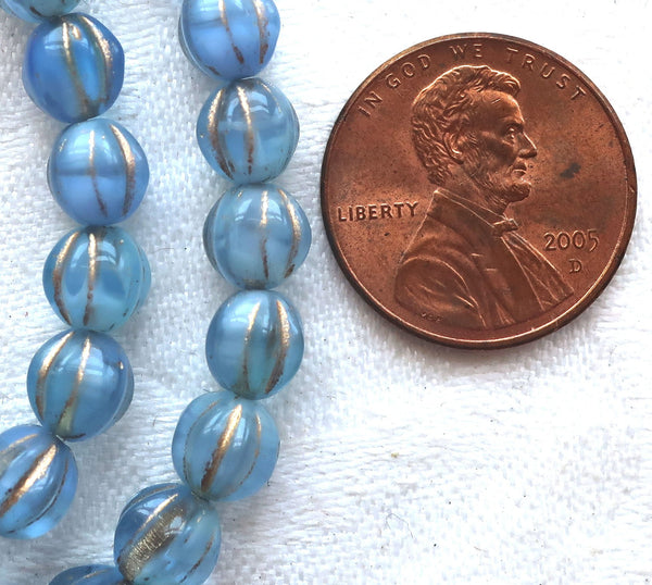 Lot of 25 Czech pressed glass melon beads, 6mm transparent & opaque mix light sapphire blue with gold accents, 0801