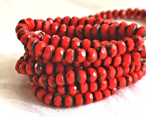30 small, opaque bright red picasso puffy rondelle beads, 3mm x 5mm faceted Czech glass rondelles 51101 - Glorious Glass Beads