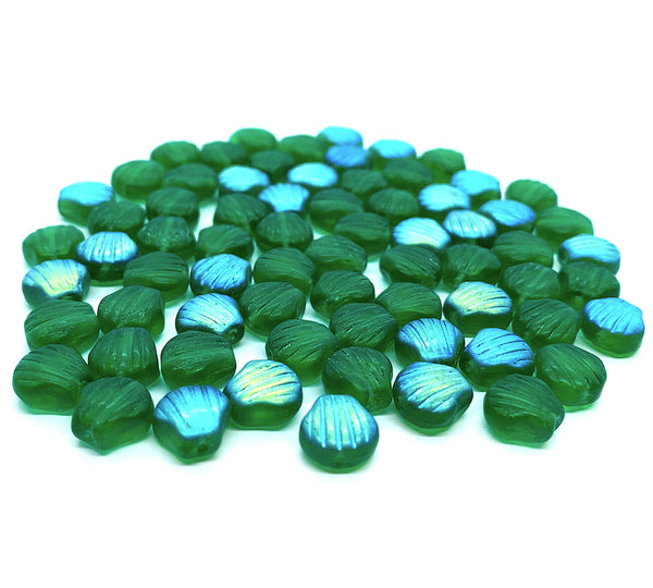 Twenty Czech glass seashell, fan or clam beads -8mm matte emerald green shell beads AB - C0058