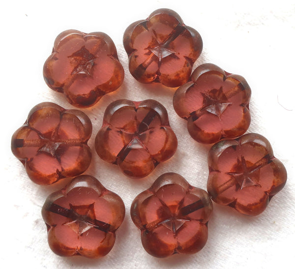 Ten 14mm Czech glass flower beads, table cut, carved, transparent pink picasso flowers, C59105