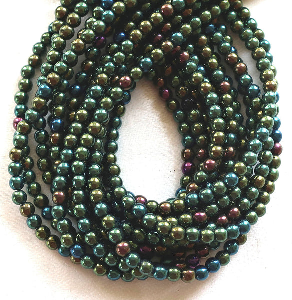 Lot o 100 4mm Green Iris Czech glass druks, smooth round druk beads C3701
