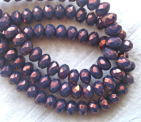 30 small, puffy rondelle beads, purple, amethyst luster 3mm x 5mm faceted Czech glass rondelles 53101 - Glorious Glass Beads