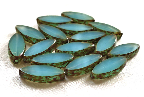 Ten 18mm x 7mm, milky, translucent, sea blue opal, table cut, picasso Czech glass spindle beads C0801
