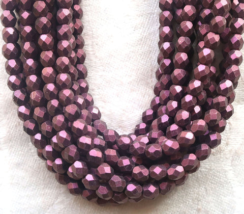 Lot of 50 4mm Czech glass beads, matte metallic suede, sueded pink fireploished, faceted roind beads 9650