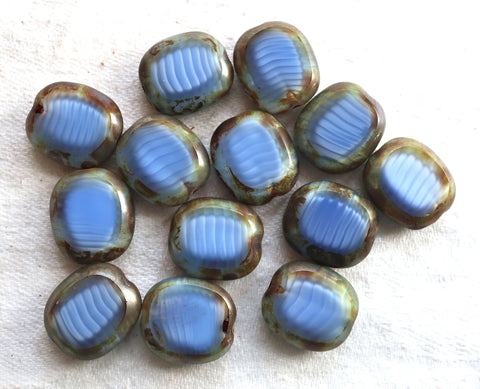 five lage oval Czech glass beads, 14 x 12mm opaque mabled blue & white glass, flat tablecut window beads with a picasso finish C00101 - Glorious Glass Beads