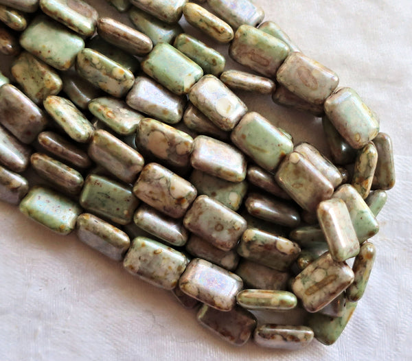 Ten Czech glass rectangular beads - opaque rustic green & white luster - 12 x 8mm rectangle bead 9601