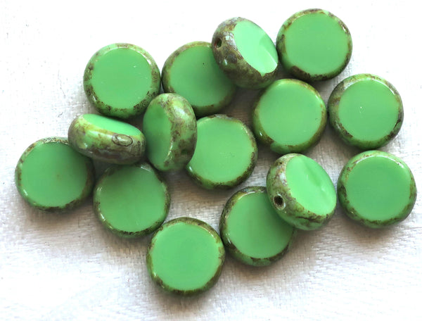 15 green Czech glass coin, disc beads, flat round beads, opaque mint or lime green beads with a picasso finish 02201 - Glorious Glass Beads