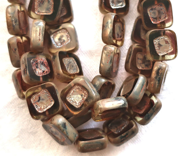 Lot of ten 11mm square Czech glass beads - carved - table cut - jonquil & amethyst purple rustic, earthy beads with a picasso finish C04101 - Glorious Glass Beads