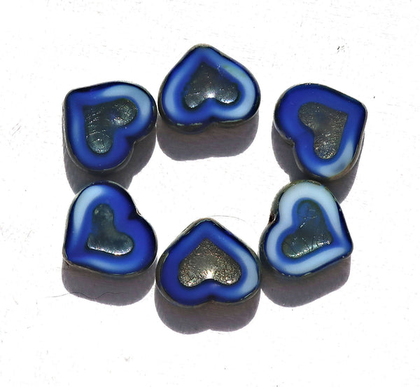 Six Czech glass heart beads; 14 x 12mm table cut, carved, opaque marbled royal blue & white glass hearts with a silver picasso finish C6906 - Glorious Glass Beads
