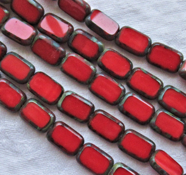 Lot of 24 rectangular Czech glass beads -table cut opaque bright red with a picasso finish, 12mm x 8mm, rectangle beads C37101 - Glorious Glass Beads