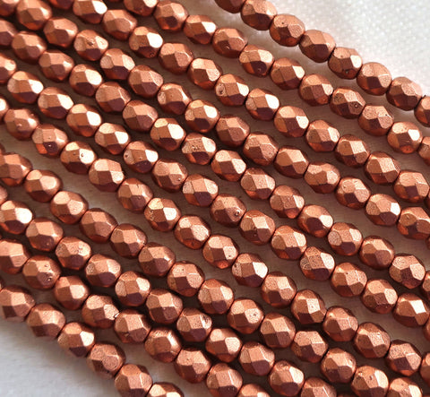 50 4mm Matte Metallic Copper Czech glass beads, firepolished, faceted round beads C8650