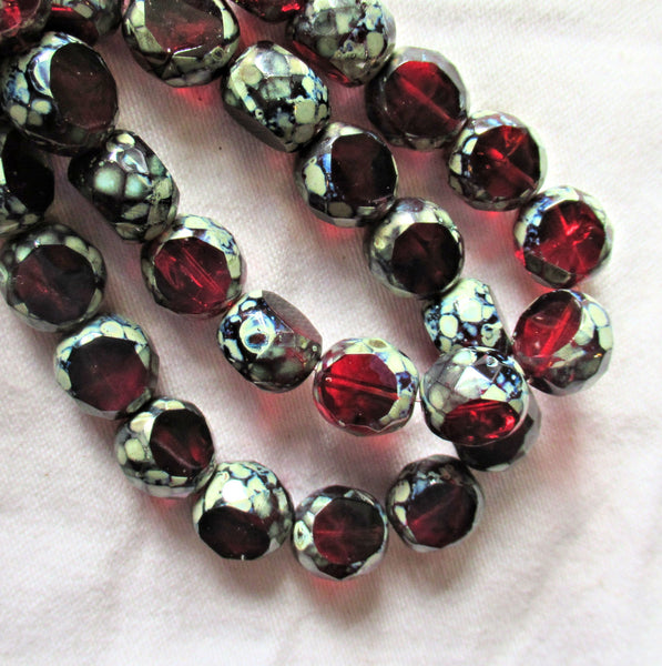 Five 12mm round faceted table cut Czech glass beads - garnet red & pink mix picasso 2 cut window beads - chunky statement focal beads 44101
