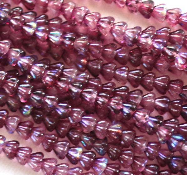Lot of 50 6mm x 4mm Violet AB baby Bell Flower Czech glass beads, purple or Amethyst AB pressed glass beads C80101