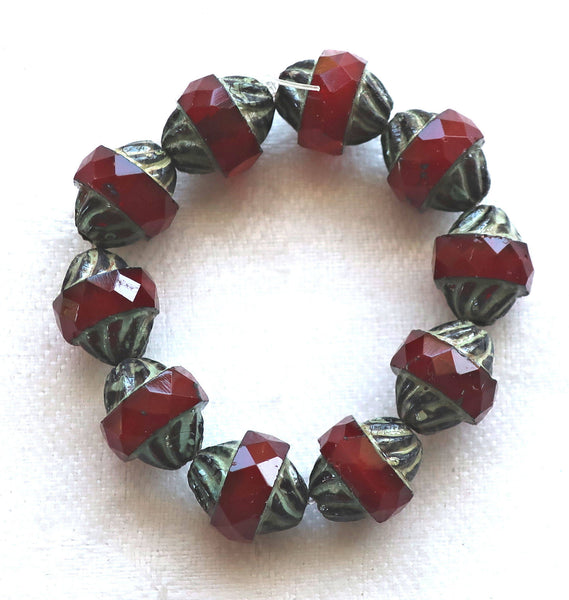 Five Czech glass faceted turbine beads, 11 x 10mm translucent garnet red with a picasso finish C54101