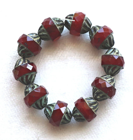 Five Czech glass faceted turbine beads, 11 x 10mm translucent garnet red with a picasso finish C54101 - Glorious Glass Beads