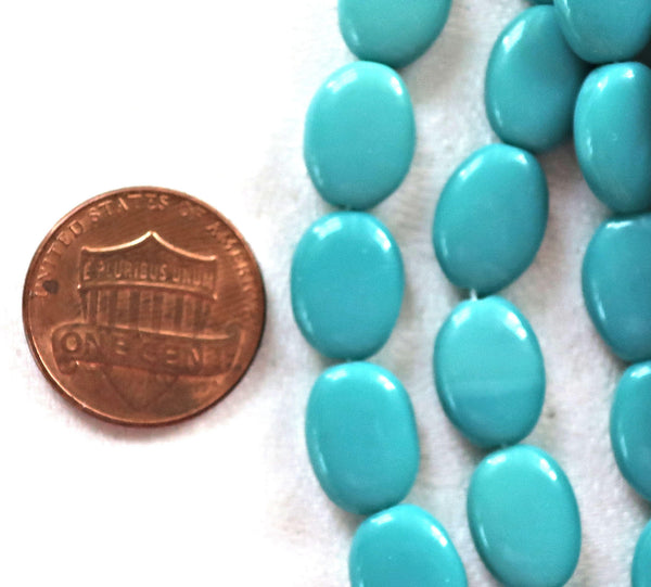 25 Opaque Turquoise Green flat oval Czech Glass beads, 12mm x 9mm pressed glass beads C41125 - Glorious Glass Beads