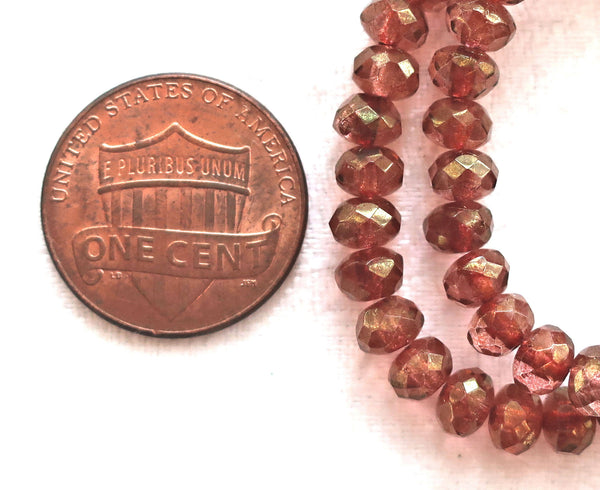 Lot of 30 small pink luster puffy rondelle beads, 3mm x 5mm faceted Czech glass rondelles 91101