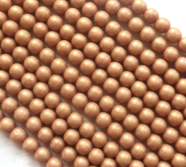 Lot of 50 6mm Czech glass druks, opaque beige, light brown, Pacifica Macadamia smooth round druk beads 03150 - Glorious Glass Beads