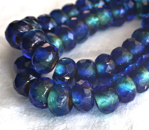 Five 12mm x 8mm Czech glass faceted roller beads - large gold lined cobalt & aqua blue mix - big 5mm holes, big hole bead 41101 - Glorious Glass Beads