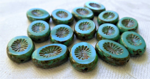 Ten 14 x 10mm flat oval Czech glass kiwi beads, opaque turquoise blue green picasso, table cut, carved front & back C6615