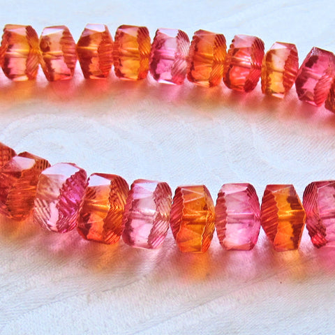 Lot of 6 Czech glass faceted wavy rondelle beads - large 14 x 6mm bright pink & orange chunky rondelles, focal beads C38101 - Glorious Glass Beads
