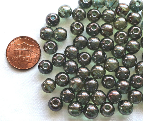 25 8mm Czech glass big hole beads, Lumi Green smooth round druk beads with 2mm holes C8501 - Glorious Glass Beads