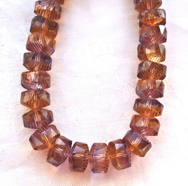 Lot of 6 Czech glass faceted wavy rondelle beads, large 14 x 6mm Peach & Amethyst / Purple chunky rondelles, focal beads C05101 - Glorious Glass Beads