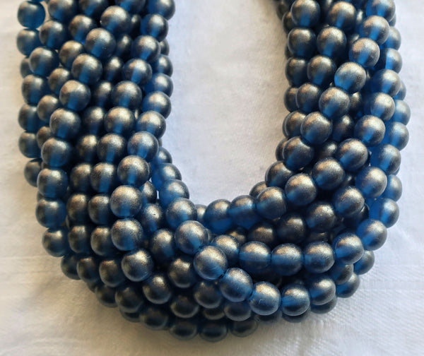 Lot of 50 6mm Sueded Gold Capri Blue Czech glass druk beads, golden blue suede smooth round druks, C4901