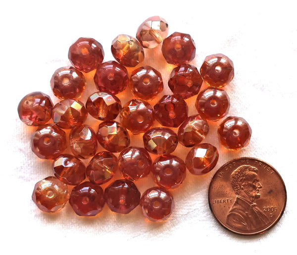 25 Czech glass puffy rondelles, 6 x 8mm transparent pink / apricot AB color mix, faceted puffy rondelle beads, sale price 50101 - Glorious Glass Beads