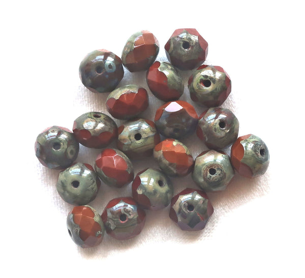 25 Czech glass faceted puffy rondelle beads, opaque rusty red & orange picasso mix, 6 x 8mm rustic, earthy, rondelles, sale price 55101