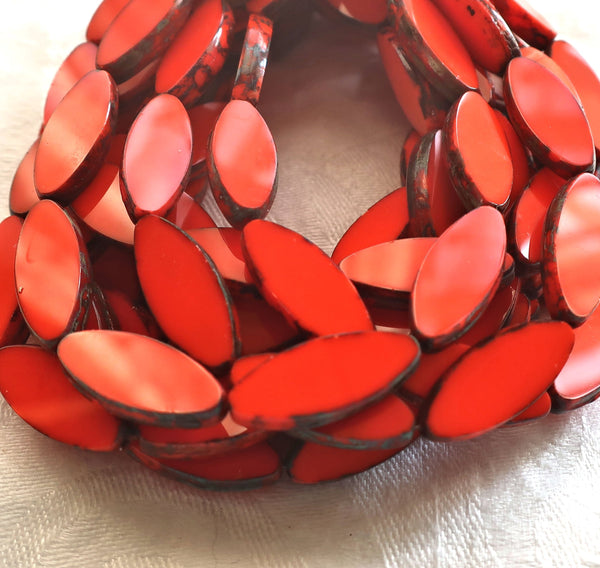 Ten Czech glass spindle beads - 20 x 9mm - opaque bright red / orange table cut picasso - almond shaped rustic earthy tube beads C33201
