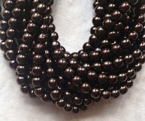 Lot of fifty 6mm Czech glass druks, Metallic Dark Chocolate Bronze smooth round Czech glass druk beads C92101