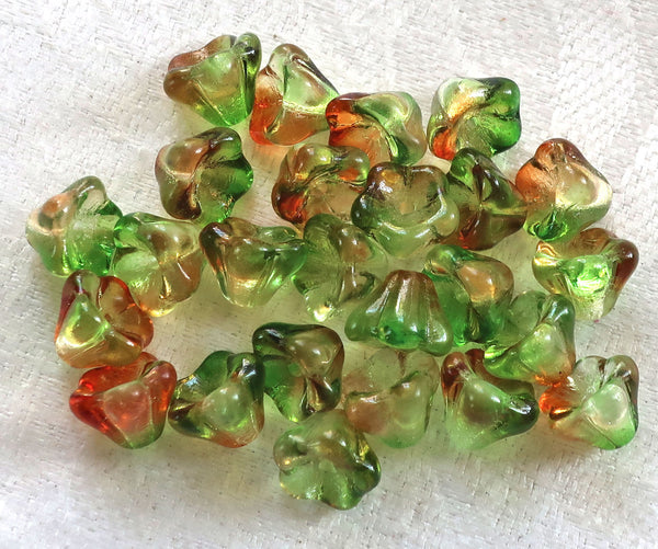 Lot of 25 8mm x 6mm Peach / Pear, orange & green Bell Flower Czech glass beads, multicolor pressed glass beads C5701