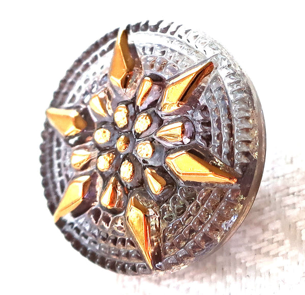 One 18mm Czech glass button, with a gold raised star, alexandrite, lavender decorative shank button 89101 - Glorious Glass Beads